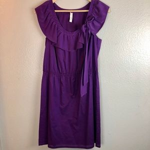Fossil Purple Cotton Ruffle Dress Small